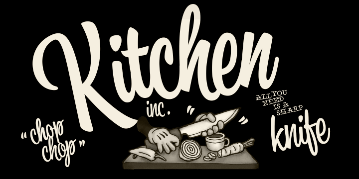 Kitchen font family by Fenotype